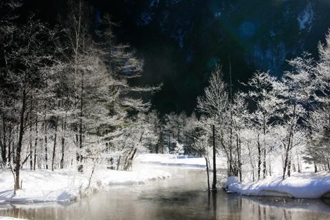 霧氷の田代池