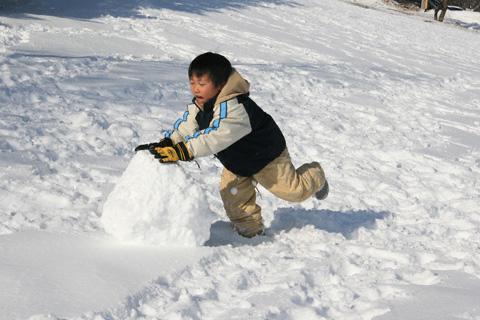 雪だるまを作る恒太