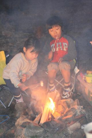 マシュマロを焼く恒太と瑞雪