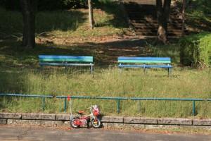 公園のベンチと自転車