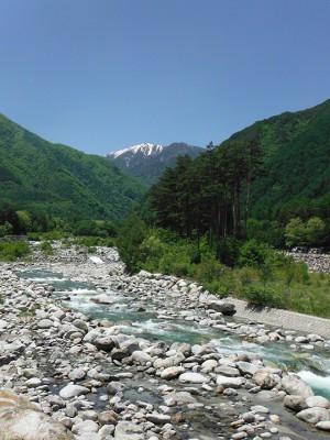 中央アルプスと大田切川